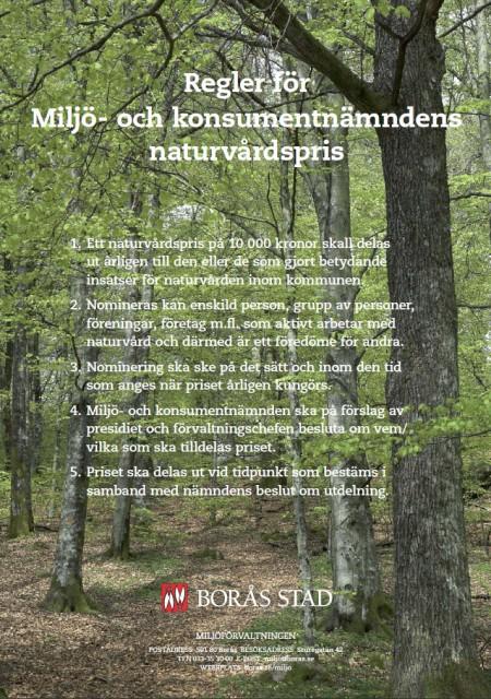 Borås miljö- och konsumentnämnds naturvårdspris - regler